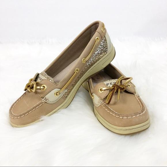 Sperry Top Sider Angelfish Gold Glitter Shoe Sz6